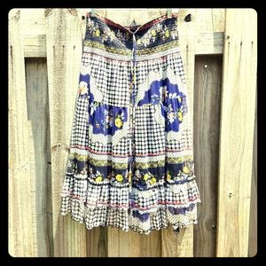 Spanish style talavera pattern boho skirt XL